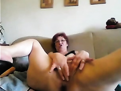Short haired horny nerdy nympho masturbated with truly giant sex tool