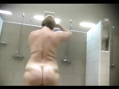 Spying on my overweight neighbour in the shower room with my hidden camera