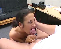 Feisty brunette hair doxy sucks large rod like avid until that babe acquires corpulent throat spunk flow