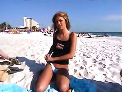 Our charming and lustful ally undresses on the beach for a wager