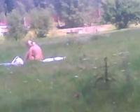 Spying on my neighbor's curvy cheating wife taking sun baths naked