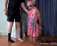 Blindfolded white bitch unfathomable face holes taskmaster shlong with fake eyes attached to her eyelids