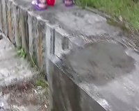 Redhead Russian whore in pink panties pisses in the park