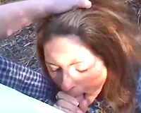 Dark haired usual lascivious babe assented to blow my buddy right in the park