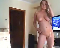 Sexy floozy with firm taut a-hole copulates her pleasing aperture with her sextoy