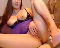 Depraved white bitch pokes her ass and cum-hole with her sex toy