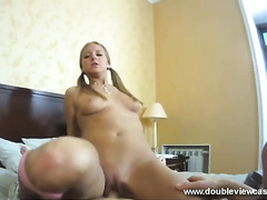 Pigtailed nice-looking leggy golden-haired head gives just terrific oral pleasure to large rod