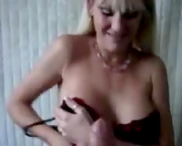 Blonde bitch sucks and strokes my hard wang longing for mouthful