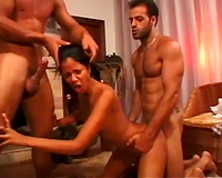 She lets her allies fuck her at the same time in front of the camera