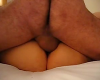My boyfriend pounding me hardcore and creampies my slit
