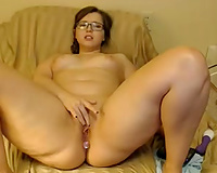 Damn horny and bulky nerdy brunette hair mother I'd like to fuck masturbated her fur pie