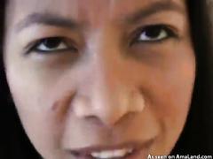 Skinny exotic Asian brunette hair on the POV livecam vid giving head