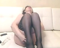 Big bottomed pale older brunette hair white wife in stockings drilled with toy