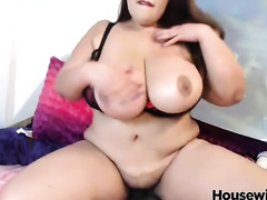 Asian big beautiful woman whore with huge 38 cup mangos is playing with her Hitachi