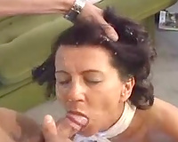 Skinny garden guy copulates my old black cock sluts and gives her facial