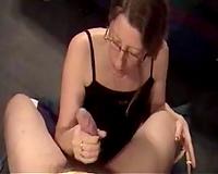 My 9 inch bushy cock receives polished by my girlfriend's mom