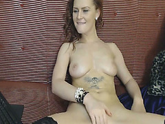 Dark-haired nympho massages her boobies 1st and then that babe masturbates