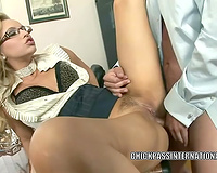 Raunchy blond secretary in the office room bangs her boss