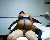 Big breasted cheerful black skinned Asian nympho was riding fellow on top