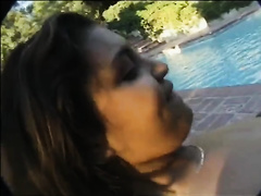 Three juvenile and breasty swarthy lesbian babes fuck using strapon outdoors