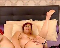 Mature large bottomed and bulky dark brown wife masturbated on wide daybed