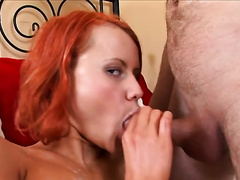 Fire kissed bright wicked girlie gives her boyfriend a precious oral-job