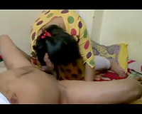 Big breasted sexually excited Indian usual slutty wife sucks meaty cock