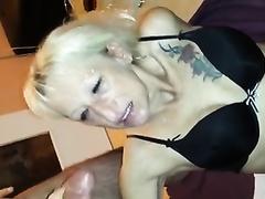 Mature slender golden-haired slut gives oral-job in front of webcam