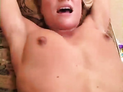 Blonde playgirl with pierced cunt receives fingered and screwed by jerk