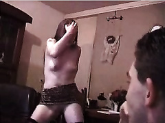 Dirty European white girlfriend in concupiscent suit stripping