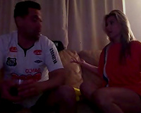 Brazilian playgirl jointly with her boyfriend having joy on livecam