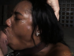 Humble oiled chocolate girlie receives brutally mouthfucked and facialized