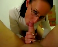 My naughty coed in glasses gives me some precious fellatio