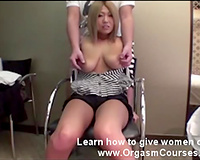 Sexy tart massages my schlong with her large melons and then bonks me on top
