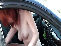 Tantalizing redhead girlfriend rides my jock in my car