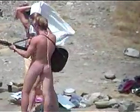 I spied after a groups of naked campers on the beach