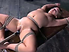 Wicked minded mistresse bonks her slave's cookie with a pole