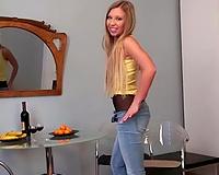 Hot blond girlfriend wears nothing below her hose