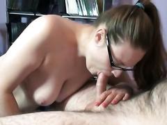 Curvy breasty golden-haired nerd Danni deepthroats Logan's jock