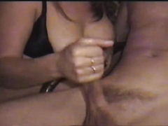 Fluffy breasty Married slut treats my biggest penis with sexy oily tugjob