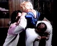 Slutty blond playgirl got screwed hard by to of her allies