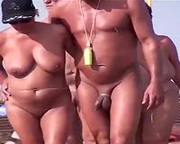 Nudist beach on the French coast with hawt breasty milfs