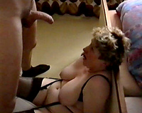 Jerking off and cumming all over my aged big beautiful woman wife's large milk shakes