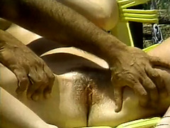 Lubricious brownhead playgirl is reminiscing hawt sex this babe had by the poolside