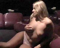 Private VIP striptease solo of one breasty golden-haired stripper
