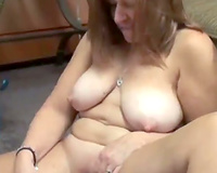 Mature floozy with a big arse is really into her organic sex toys