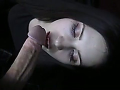 Appealing brunette hair gal engulfing wet large dong balls unfathomable in POV