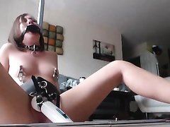 Gagged bound up lascivious non-professional web camera nympho is nailed with sex machine