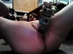 My salacious bulky white wife enjoys fucking her snatch with a bottle
