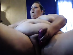 Huge breasted fat dilettante cam nympho goes solo with sex-toy